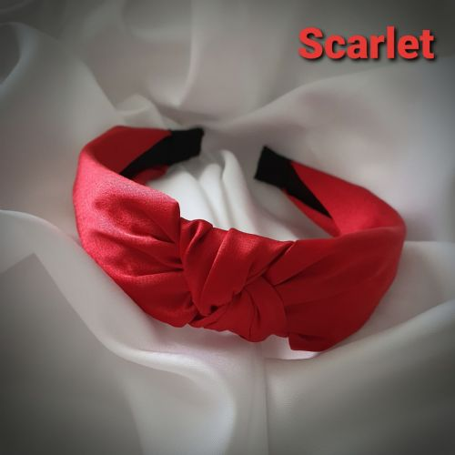 Scarlet Satin Knotted Headband